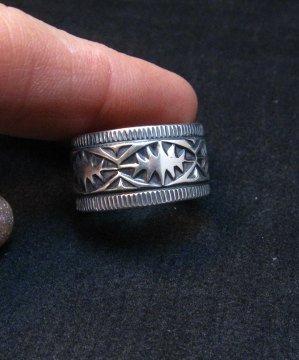 Image 3 of Navajo Sash Belt Design Silver Band Ring, Travis Teller sz10