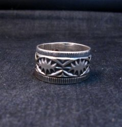 Navajo Sash Belt Design Silver Band Ring, Travis Teller sz10