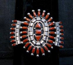 Native American Zuni Coral Needlepoint Cluster Bracelet, Evonne Hustito
