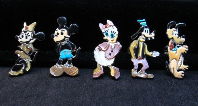 Image 4 of Whimsical Zuni Disney Daisy Duck Ring, Andrea Lonjose sz7