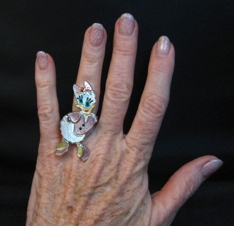 Image 1 of Whimsical Zuni Daisy Duck Ring, Andrea Lonjose Shirley sz7