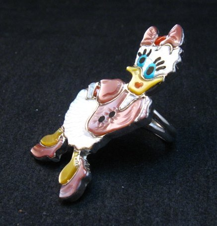 Image 2 of Whimsical Zuni Disney Daisy Duck Ring, Andrea Lonjose sz7