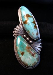 Huge Navajo Derrick Cadman Native American Pilot Mtn Turquoise Ring sz9