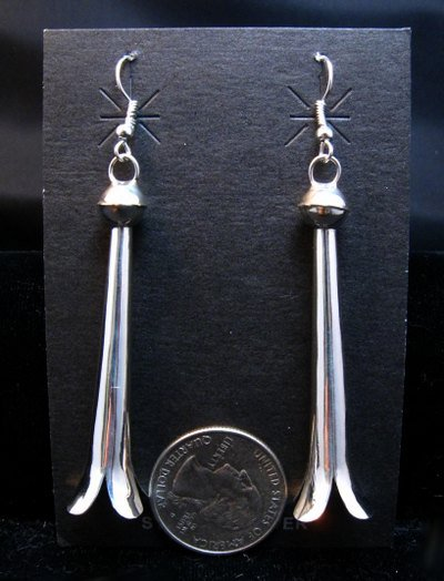 Image 1 of Long Doris Smallcanyon Navajo Sterling Silver Squash Blossom Earrings