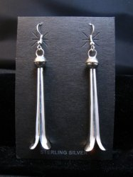 Long Doris Smallcanyon Navajo Sterling Silver Squash Blossom Earrings