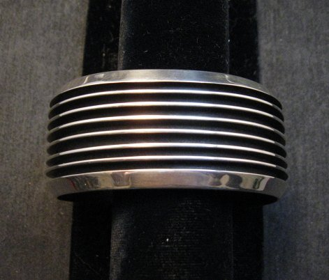 Image 0 of Wide Native American Navajo Sterling Silver Cuff Bracelet Tom Hawk
