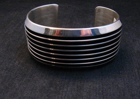 Image 1 of Wide Native American Navajo Sterling Silver Cuff Bracelet Tom Hawk