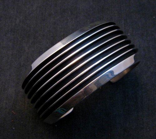 Image 2 of Wide Native American Navajo Sterling Silver Cuff Bracelet Tom Hawk
