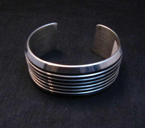 Image 5 of Wide Native American Navajo Sterling Silver Cuff Bracelet Tom Hawk