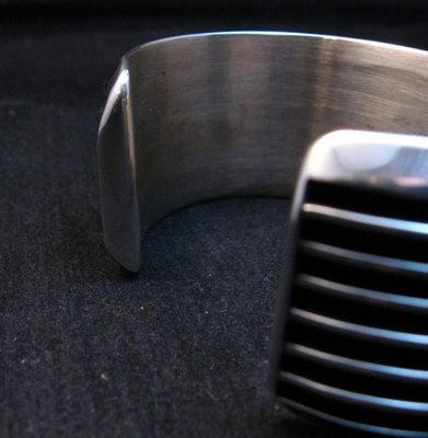 Image 6 of Wide Native American Navajo Sterling Silver Cuff Bracelet Tom Hawk