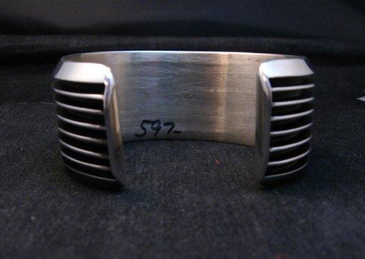 Image 7 of Wide Native American Navajo Sterling Silver Cuff Bracelet Tom Hawk