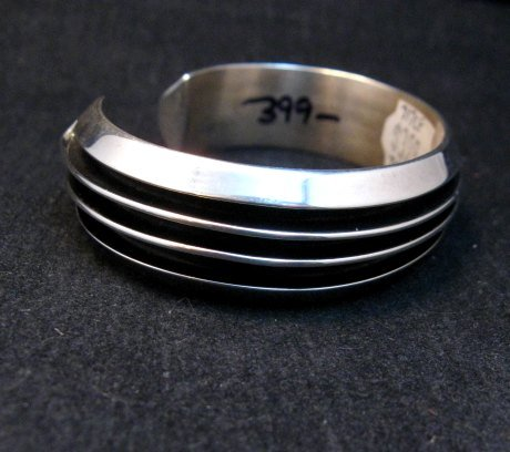 Image 2 of Sleek Native American Navajo Sterling Silver Cuff Bracelet Tom Hawk