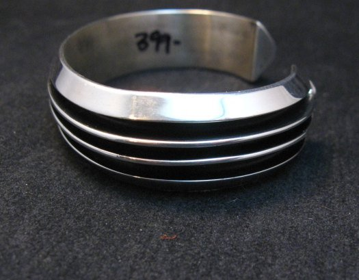 Image 3 of Sleek Native American Navajo Sterling Silver Cuff Bracelet Tom Hawk