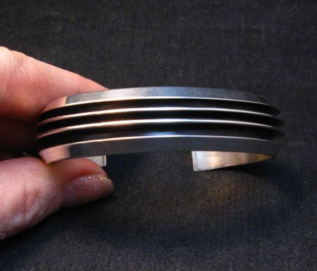 Image 4 of Sleek Native American Navajo Sterling Silver Cuff Bracelet Tom Hawk