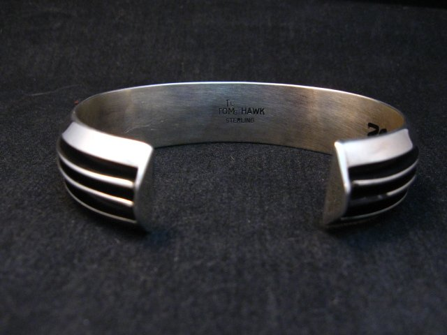 Image 5 of Sleek Native American Navajo Sterling Silver Cuff Bracelet Tom Hawk