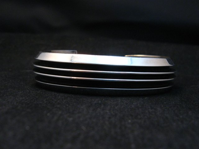 Image 1 of Sleek Native American Navajo Sterling Silver Cuff Bracelet Tom Hawk