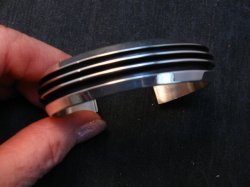 Sleek Native American Navajo Sterling Silver Cuff Bracelet Tom Hawk