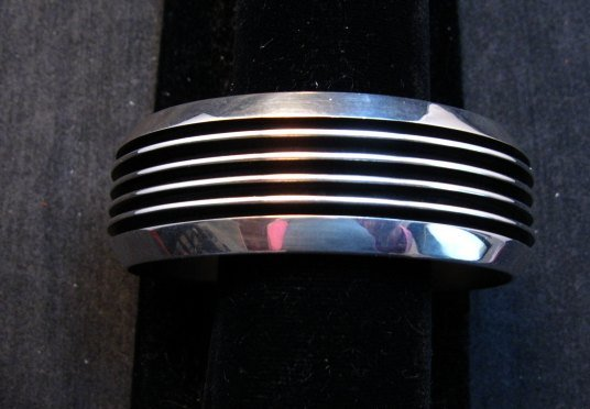 Image 0 of Native American Navajo Sterling Silver Unisex Cuff Bracelet Tom Hawk
