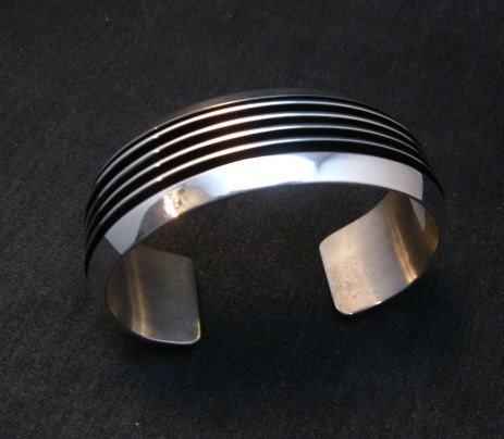 Image 2 of Native American Navajo Sterling Silver Unisex Cuff Bracelet Tom Hawk