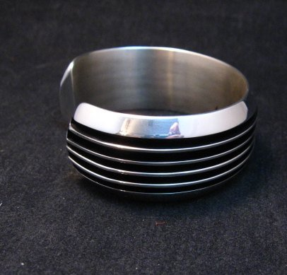 Image 4 of Native American Navajo Sterling Silver Unisex Cuff Bracelet Tom Hawk