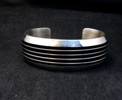 Image 6 of Native American Navajo Sterling Silver Unisex Cuff Bracelet Tom Hawk