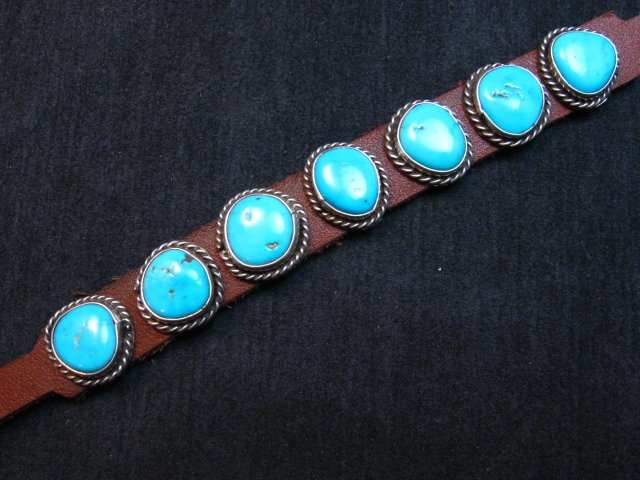 Image 2 of Navajo Turquoise Sterling Silver Leather Bracelet, Dan Martinez, Custom Fit