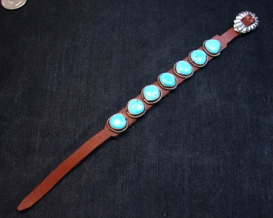 Image 0 of Navajo Turquoise Sterling Silver Leather Bracelet, Dan Martinez, Custom Fit