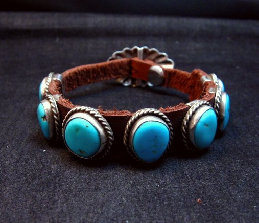 Image 1 of Navajo Turquoise Sterling Silver Leather Bracelet, Dan Martinez, Custom Fit