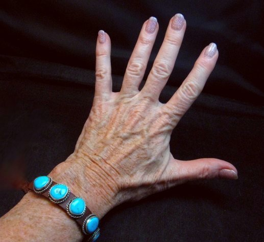 Image 3 of Navajo Turquoise Sterling Silver Leather Bracelet, Dan Martinez, Custom Fit