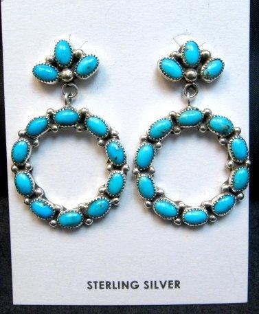 Image 0 of Dramatic Navajo Turquoise Circular Dangle Earrings, Pearlene Spencer