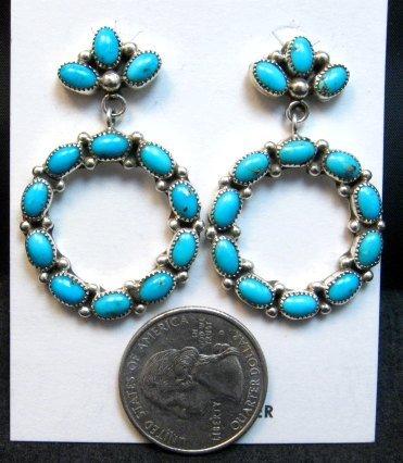 Image 1 of Dramatic Navajo Turquoise Circular Dangle Earrings, Pearlene Spencer
