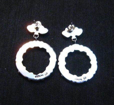 Image 2 of Dramatic Navajo Turquoise Circular Dangle Earrings, Pearlene Spencer