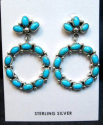 Dramatic Navajo Turquoise Circular Dangle Earrings, Pearlene Spencer