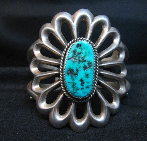 Image 0 of Wide Vintage Pawn Navajo Tufa Cast Sterling Silver Turquoise Bracelet