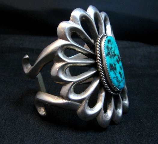 Image 1 of Wide Vintage Pawn Navajo Tufa Cast Sterling Silver Turquoise Bracelet