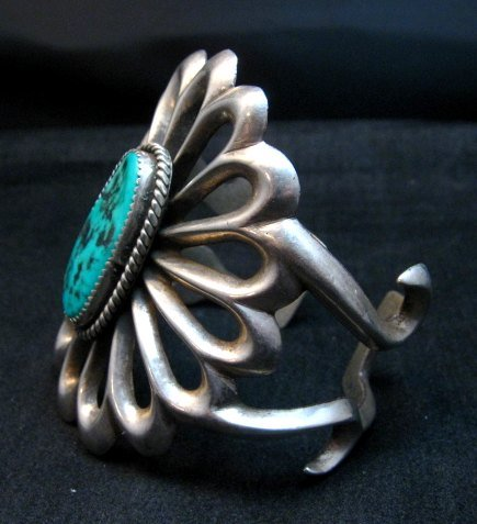 Image 2 of Wide Vintage Pawn Navajo Tufa Cast Sterling Silver Turquoise Bracelet