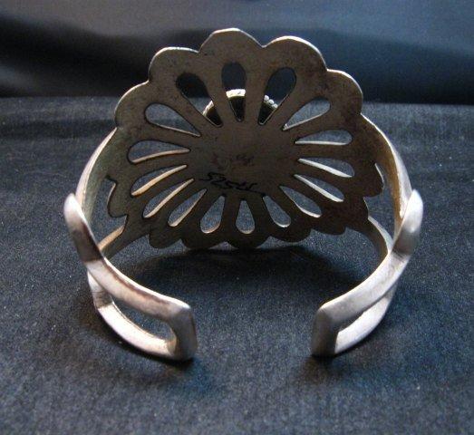 Image 3 of Wide Vintage Pawn Navajo Tufa Cast Sterling Silver Turquoise Bracelet