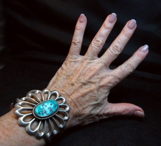 Image 4 of Wide Vintage Pawn Navajo Tufa Cast Sterling Silver Turquoise Bracelet