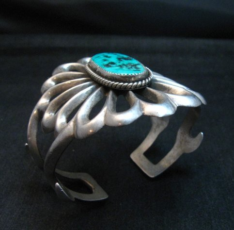 Image 5 of Wide Vintage Pawn Navajo Tufa Cast Sterling Silver Turquoise Bracelet