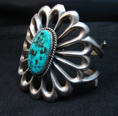 Image 6 of Wide Vintage Pawn Navajo Tufa Cast Sterling Silver Turquoise Bracelet