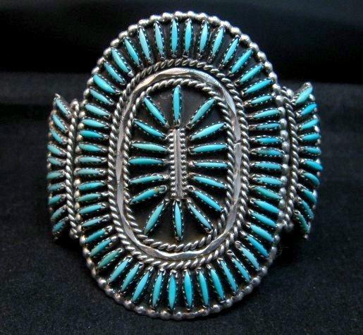 Image 0 of Vintage Pawn Zuni Sleeping Beauty Turquoise Needlepoint Cluster Bracelet