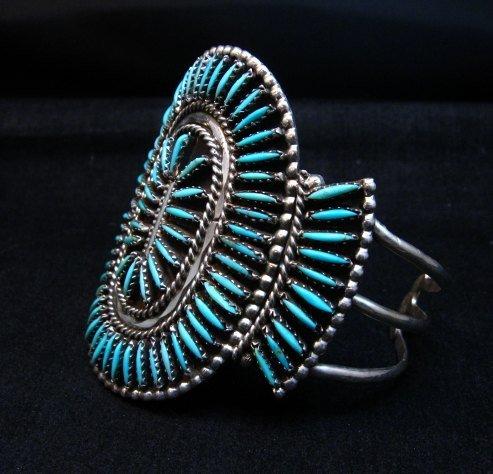 Image 1 of Vintage Pawn Zuni Sleeping Beauty Turquoise Needlepoint Cluster Bracelet