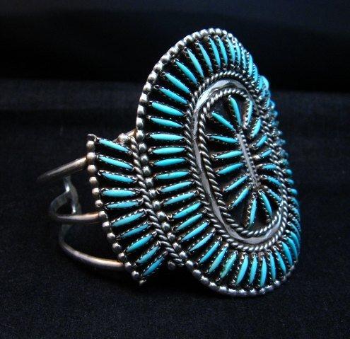 Image 2 of Vintage Pawn Zuni Sleeping Beauty Turquoise Needlepoint Cluster Bracelet