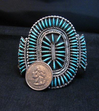 Image 3 of Vintage Pawn Zuni Sleeping Beauty Turquoise Needlepoint Cluster Bracelet