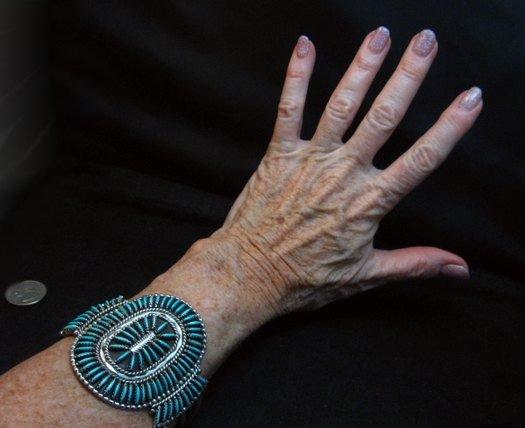 Image 5 of Vintage Pawn Zuni Sleeping Beauty Turquoise Needlepoint Cluster Bracelet