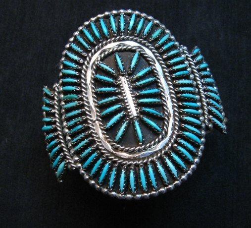 Image 7 of Vintage Pawn Zuni Sleeping Beauty Turquoise Needlepoint Cluster Bracelet
