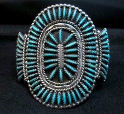Vintage Pawn Zuni Sleeping Beauty Turquoise Needlepoint Cluster Bracelet