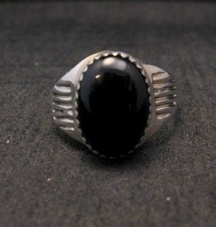 Image 0 of Black Onyx Navajo Native American Silver Ring sz9