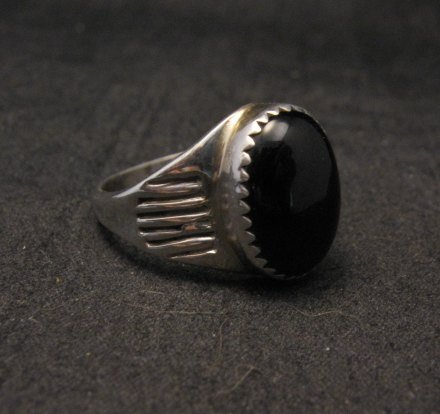 Image 1 of Black Onyx Navajo Native American Silver Ring sz9