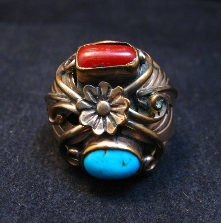Image 0 of Vintage Navajo Turquoise Coral Sterling Silver and Gold Ring sz13, AJ Platero